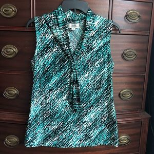 Teal, Black, and White Dressy Tank
